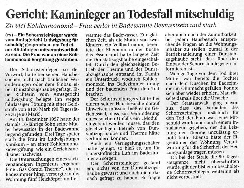 Aus der Ludwigsburger Kreiszeitung vom 15. Oktober 2001